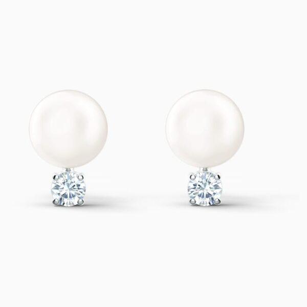 swarovski treasure pearl pierced earrings white rhodium plated swarovski 5559420