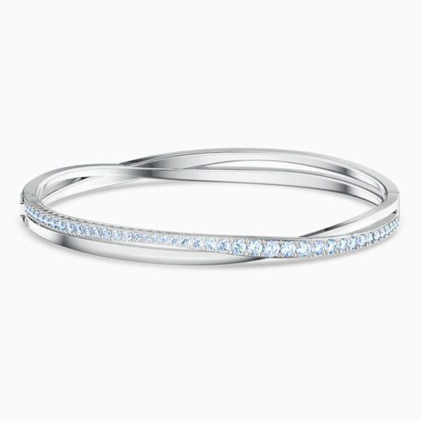 swarovski twist rows bracelet blue rhodium plated swarovski 5582810