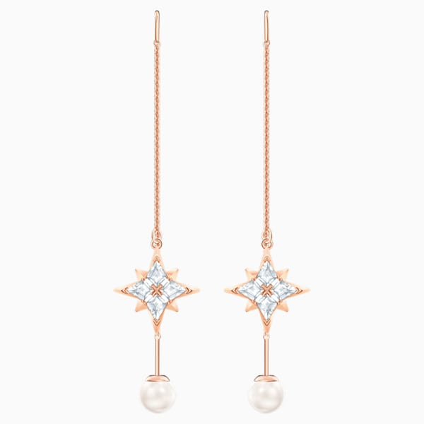 swarovski symbolic chain pierced earrings white rose gold tone plated swarovski 5555432